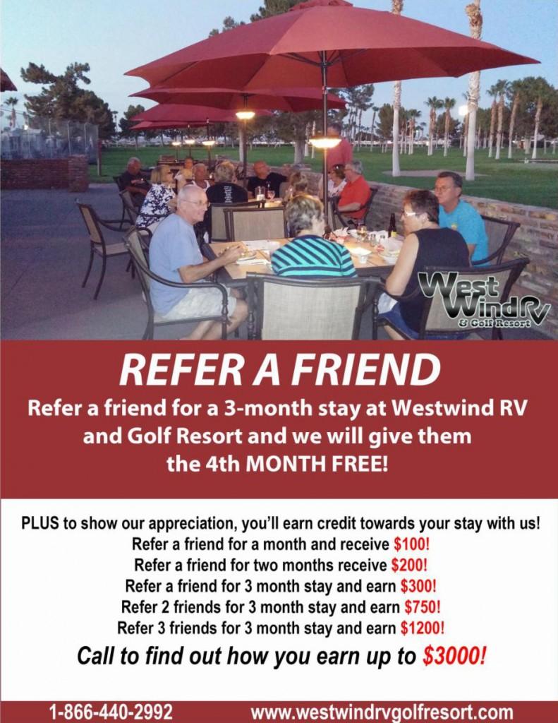 Westwind RV & Golf Resort Refer-A-Friend