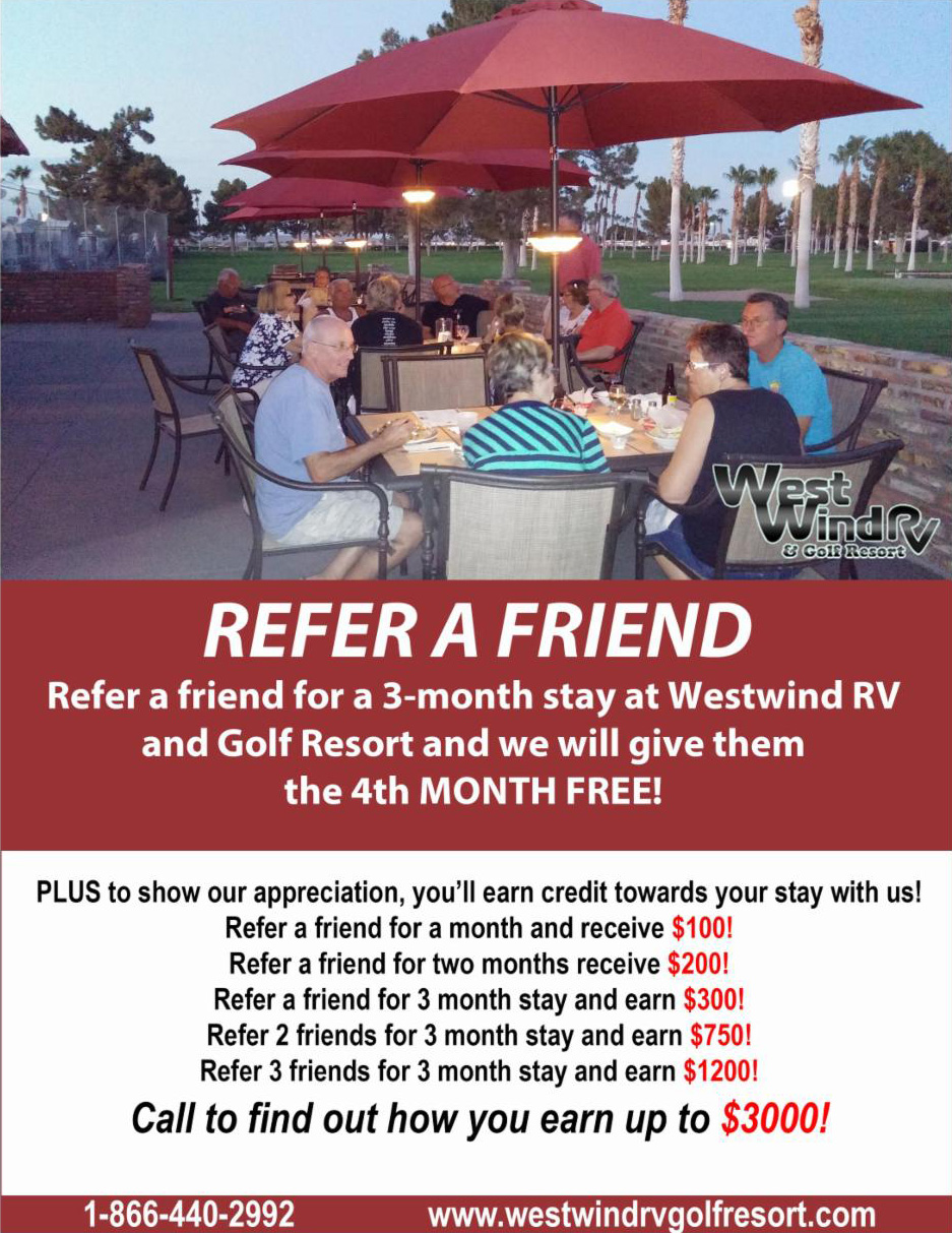 Westwind RV & Golf Resort Refer-A-Friend
